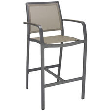 South Beach Collection Aluminum Outdoor Barstool with Arms and Textile Back - Mocha