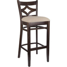 Diamond Back Bar Stool in Walnut Wood Finish