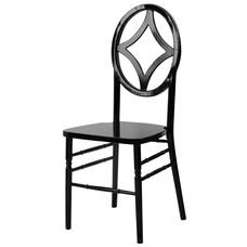 Veronique Stackable Diamond Wood Dining Chair - Black