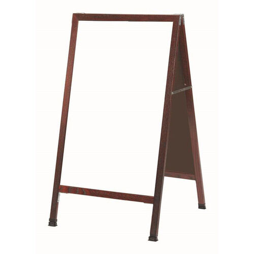 A-Frame Sidewalk White Melamine Marker Board with Cherry Stained Solid Red Oak Frame - 42