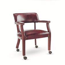 Alera® Traditional Series Guest Arm Chair w/Casters - Mahogany Finish/Oxblood Vinyl