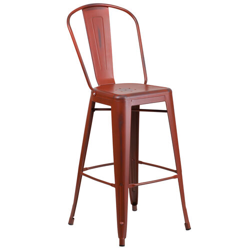 """Our Commercial Grade 30"""" High Distressed Kelly Red Metal Indoor-Outdoor Barstool with Back is on sale now."""