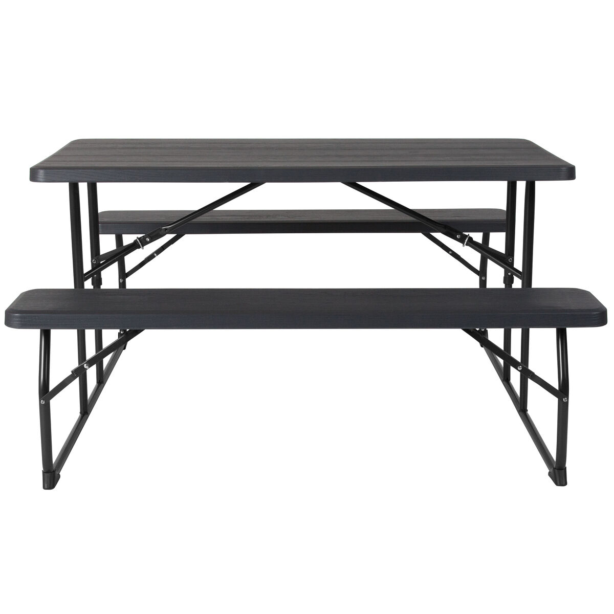 Remarkable Insta Fold Charcoal Wood Grain Folding Picnic Table And Benches Ibusinesslaw Wood Chair Design Ideas Ibusinesslaworg