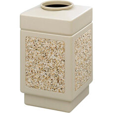 Canmeleon™ 38 Gallon Indoor or Outdoor Aggregate Panel Top Open Receptacle - Tan