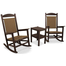POLYWOOD® Presidential Woven Rocker 3-Piece Set - Mahogany Frame / Tigerwood