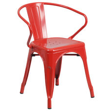 Red Metal Indoor-Outdoor Chair with Arms