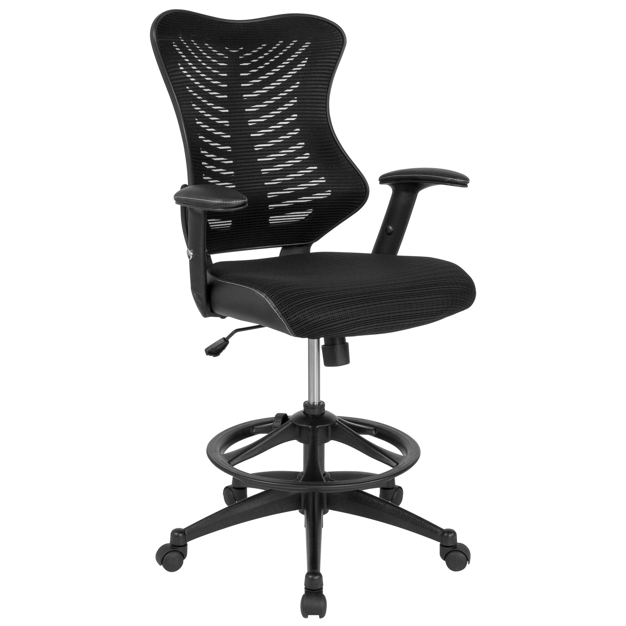 Pleasant High Back Designer Black Mesh Drafting Chair With Leather Sides And Adjustable Arms Gmtry Best Dining Table And Chair Ideas Images Gmtryco