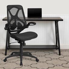 High Back Transparent Black Mesh Executive Ergonomic Office Chair with Adjustable Lumbar, 2-Paddle Control & Flip-Up Arms