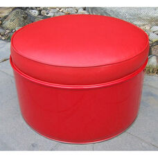Very Red Steel Drum Ottoman with Red Accents