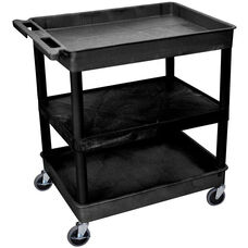 Heavy Duty Multi-Purpose Large Mobile Tub Utility Cart with 1 Flat Shelf and 2 Tub Shelves - Black - 32