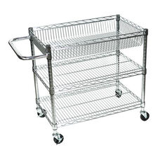 3 Adjustable Shelf Large Wire Tub Transport Cart - 30