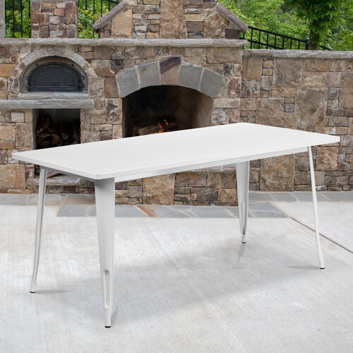 """Our Commercial Grade 31.5"""" x 63"""" Rectangular White Metal Indoor-Outdoor Table is on sale now."""