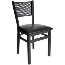 Polk Metal Perforated Back Chair - Black Vinyl Seat