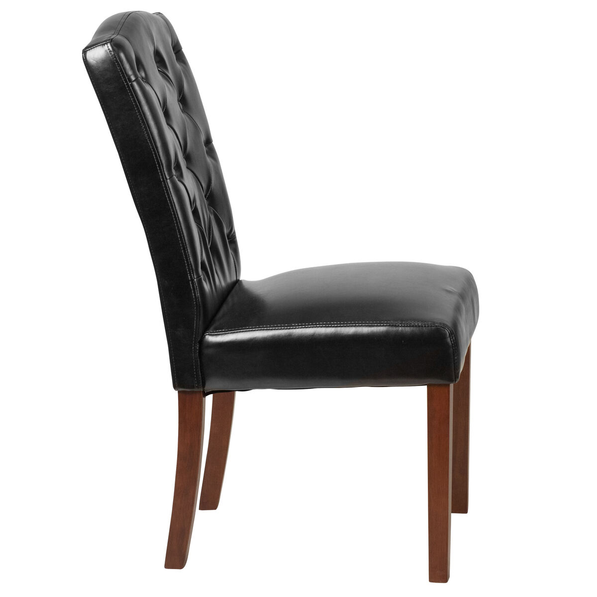 Black Leather Parsons Chair Qy A18 9325 Bk Gg