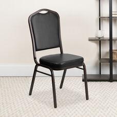 HERCULES Series Crown Back Stacking Banquet Chair in Black Vinyl - Gold Vein Frame
