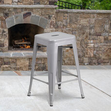 "Commercial Grade 24"" High Backless Silver Metal Indoor-Outdoor Counter Height Stool with Square Seat"