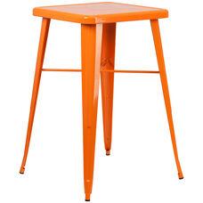 "Commercial Grade 23.75"" Square Orange Metal Indoor-Outdoor Bar Height Table"