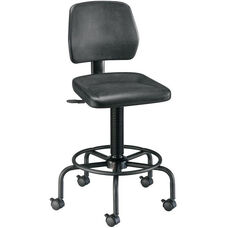 Adjustable Height Utility Stool with Backrest - Black