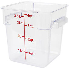 4 Quart Polycarbonate Square Food Storage Container in Clear