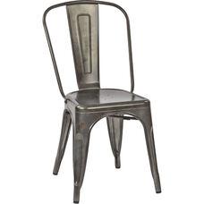OSP Designs Bristow Armless Chair - Set of 4 - Matte Galvanized