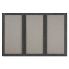 Quartet Graphite Radius Frame 3-Door Fabric Board - 72