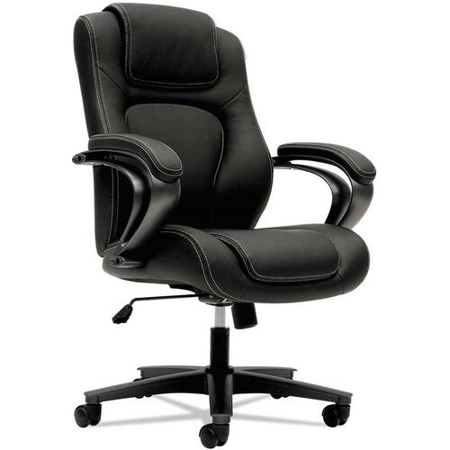 Basyx® VL402 Series Executive High-Back Chair with Padded Arms and Black Frame - Black Vinyl