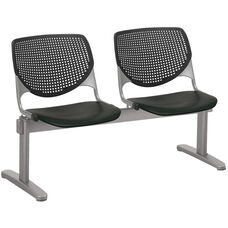 2300 KOOL Series Beam Seating with 2 Poly Perforated Back and Seats with Silver Frame - Black