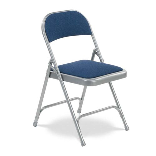 Quick Ship Multi-Purpose Steel Folding Chair with Sedona Sailor Fabric Pads and Silver Mist Frame - 17.75