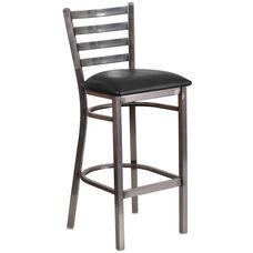 HERCULES Series Clear Coated Ladder Back Metal Restaurant Barstool - Black Vinyl Seat