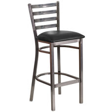 Clear Coated Ladder Back Metal Restaurant Barstool with Black Vinyl Seat