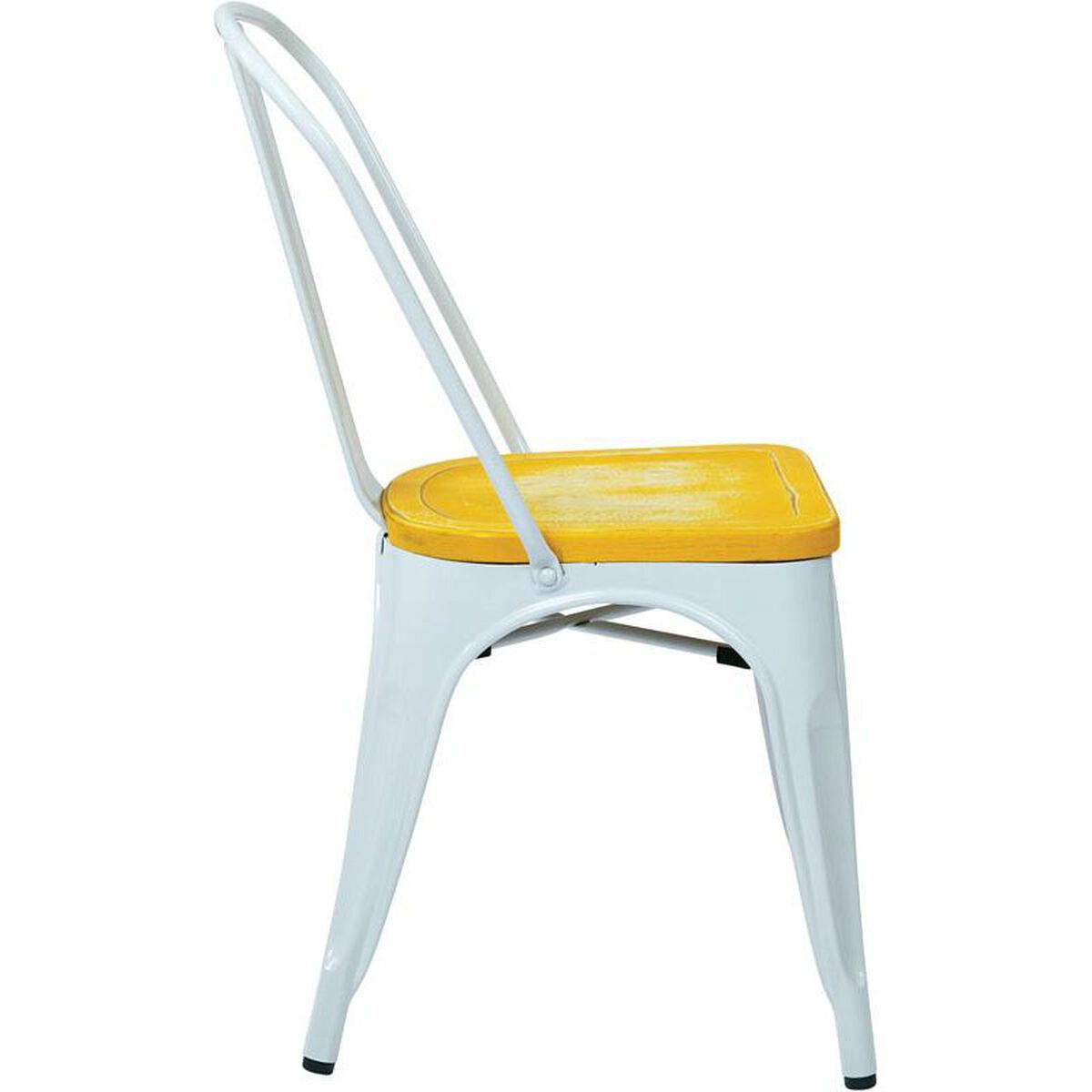 Set Of 4 White Metal Chair Brw2911a4 C308