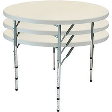 Advantage 4 ft. Round Adjustable Plastic Folding Table
