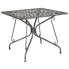 "Agostina Series 35.25"" Square Antique Silver Indoor-Outdoor Steel Patio Table"