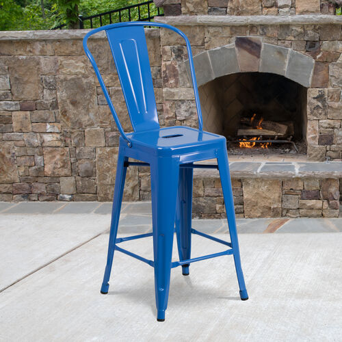 """Our Commercial Grade 24"""" High Blue Metal Indoor-Outdoor Counter Height Stool with Removable Back is on sale now."""
