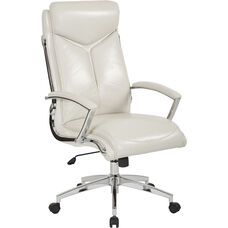 Work Smart Executive Faux Leather High Back Chair with Padded Arms - Cream