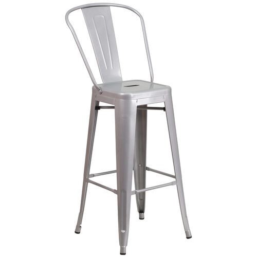 """Our Commercial Grade 30"""" High Silver Metal Indoor-Outdoor Barstool with Removable Back is on sale now."""