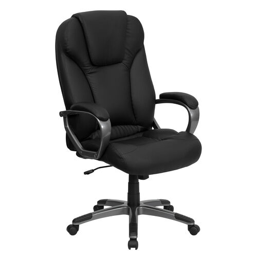Our High Back Black LeatherSoft Executive Swivel Office Chair with Titanium Nylon Base and Arms is on sale now.
