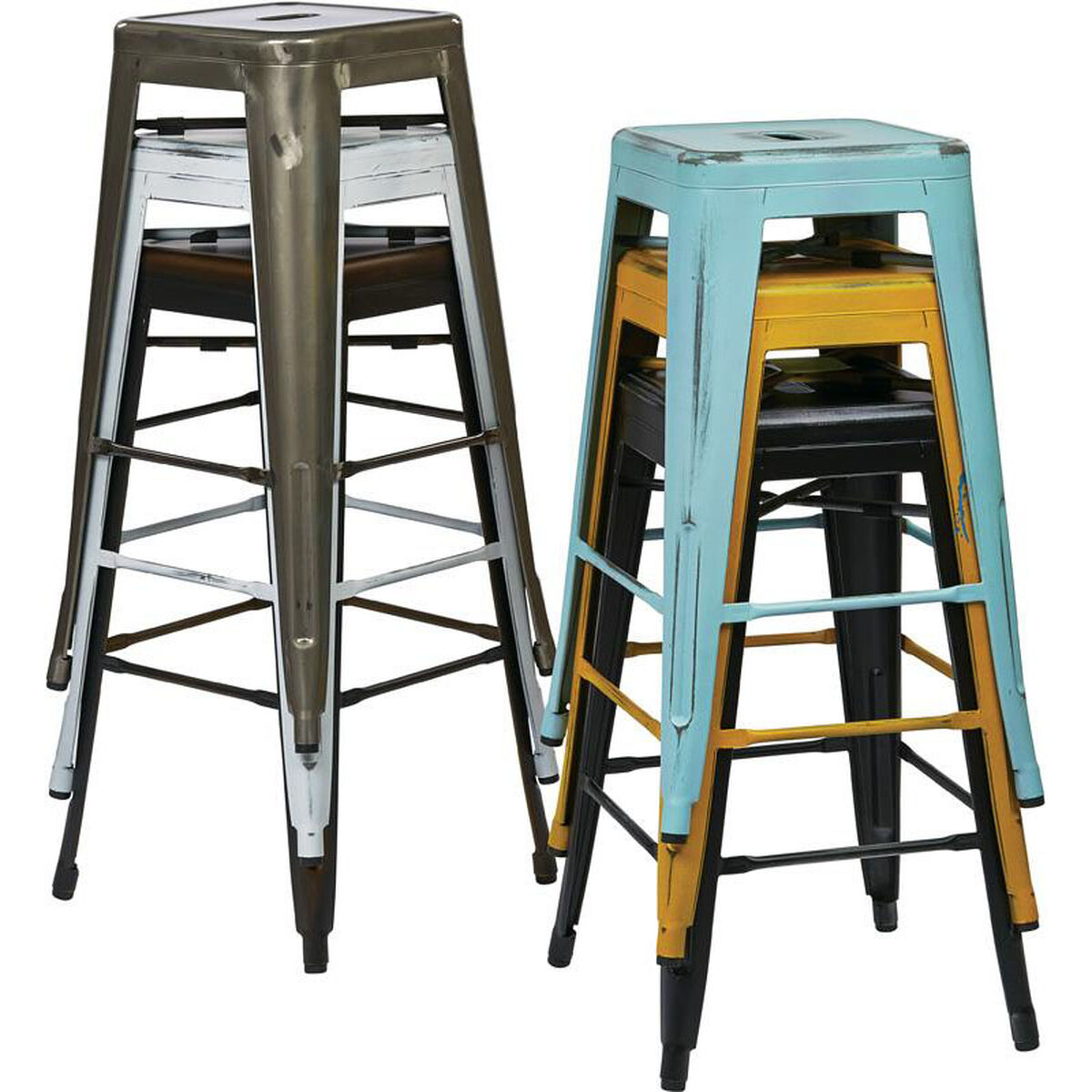 Our Osp Designs Bristow 26 Backless Antique Metal Barstools 2 Pack