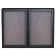 Quartet Graphite Radius Frame 2-Door Fabric Board - 48