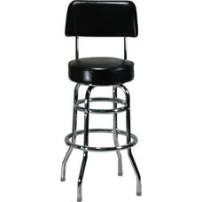 Double Ring Black Barstool with Back