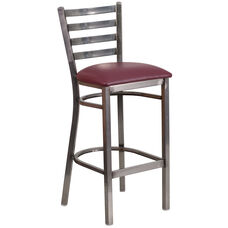 HERCULES Series Clear Coated Ladder Back Metal Restaurant Barstool - Burgundy Vinyl Seat