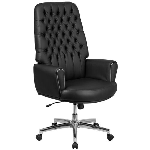 Our High Back Traditional Tufted Leather Executive Swivel Office Chair with Silver Welt Arms is on sale now.
