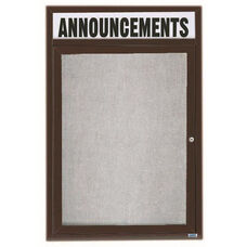 1 Door Outdoor Illuminated Enclosed Bulletin Board with Header and Bronze Anodized Aluminum Frame - 48