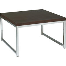 Ave Six Wall Street Wood Veneer Top Accent Table with Chrome Finished Steel Base - Espresso