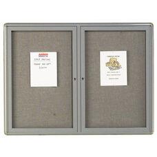 2 Door Radius Design Enclosed Bulletin Board with Gray Fabric and Medium Gray Frame - 36''H x 48''W