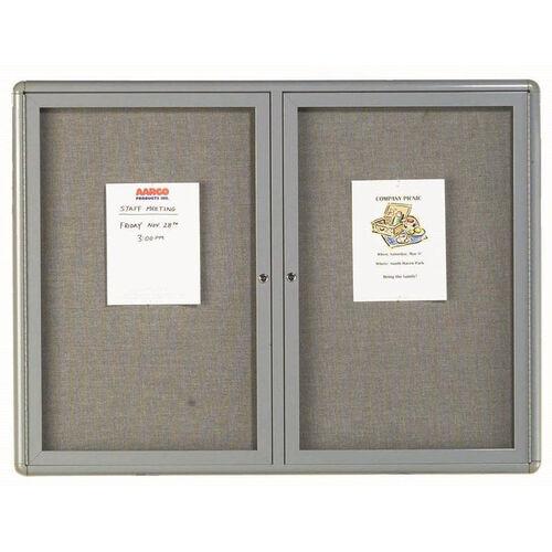2 Door Radius Design Enclosed Bulletin Board with Gray Fabric and Medium Gray Frame - 36