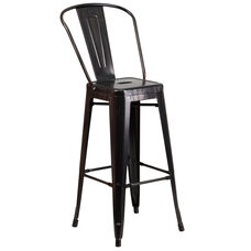 "Commercial Grade 30"" High Black-Antique Gold Metal Indoor-Outdoor Barstool with Back"