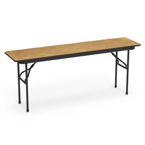 Our 6000 Series Traditional Rectangular Folding Table with Medium Oak Top and Black Frame - 18