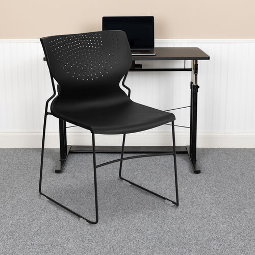 Our HERCULES Series 661 lb. Capacity Black Full Back Stack Chair with Black Powder Coated Frame is on sale now.
