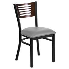Black Decorative Slat Back Metal Restaurant Chair with Mahogany Wood Back & Custom Upholstered Seat